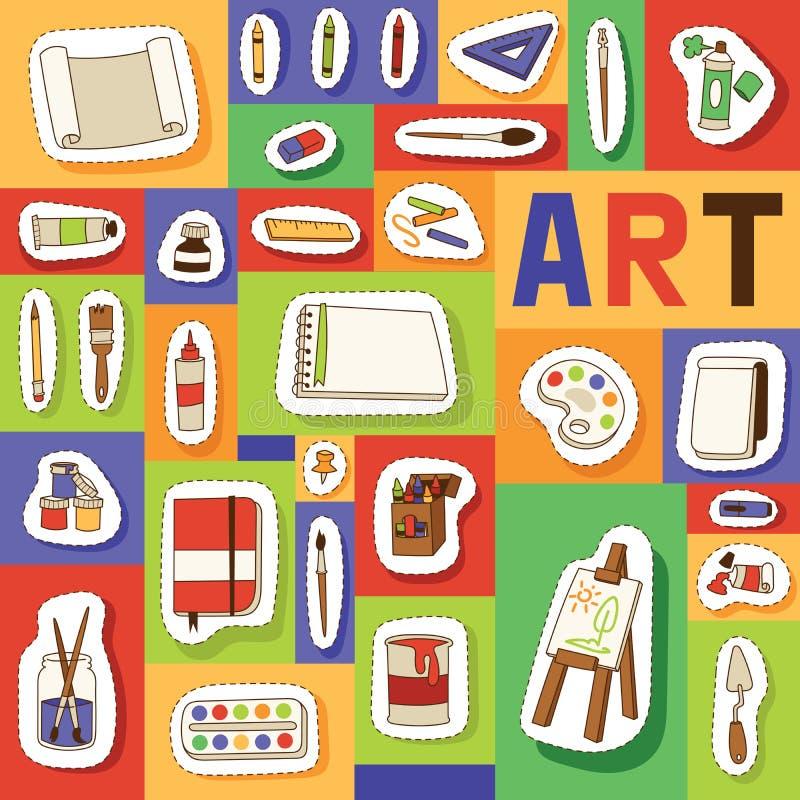 Nahtloser Mustervektor des Kunststudios, der in der Kunstschule mit Künstlerwerkzeugaquarell-Pinselpalette für Farbe studiert lizenzfreie abbildung