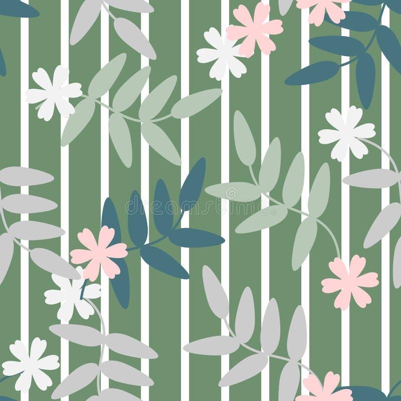 Nahtloser Mustervektor von bunten Blumen und von Blättern auf grünem Pastellton, für Gewebe, Dekoration und/oder Oberfläche entwe stock abbildung