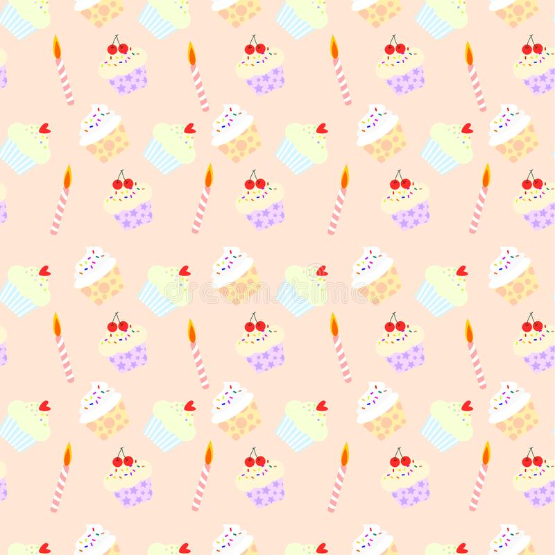Nahtloser Mustervektor von netten kleinen Kuchen und von Kerze auf Pastellhintergrund vektor abbildung