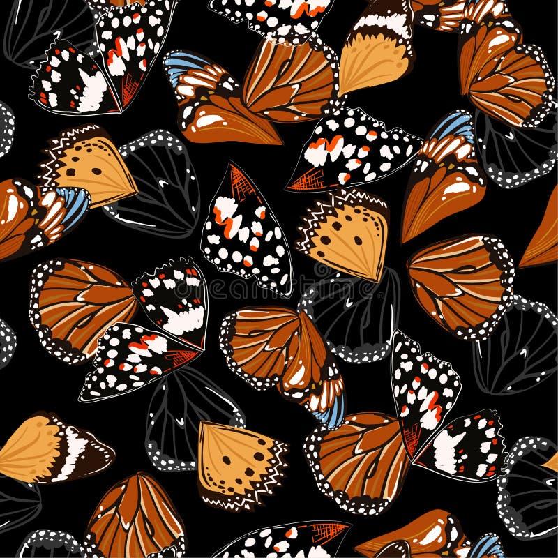 Nahtloser Mustervektor von Schmetterlingsflügeln mit Farbkontrast mit schwarzem Hintergrund lizenzfreie abbildung