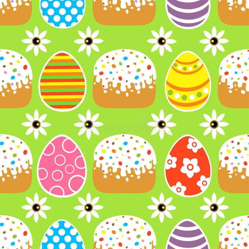 Nahtloser Ostern-Hintergrund mit dem Kuchen, grün lizenzfreie abbildung