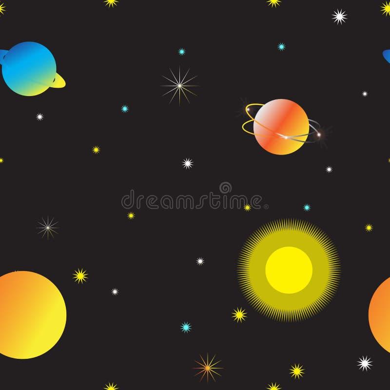 Nahtloser Raum und sternenklarer Himmelhintergrund vektor abbildung