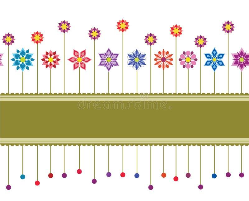 Nahtloser Retro- mit Blumenrand vektor abbildung