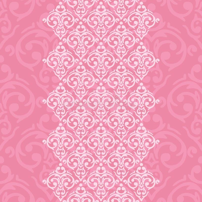 Nahtloser rosa Rahmen in der Damastbarockart vektor abbildung