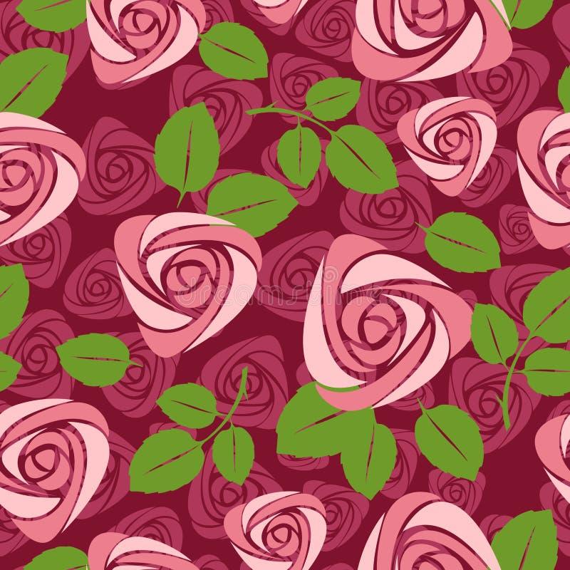 Nahtloser rosafarbener mit Blumenhintergrund lizenzfreie abbildung