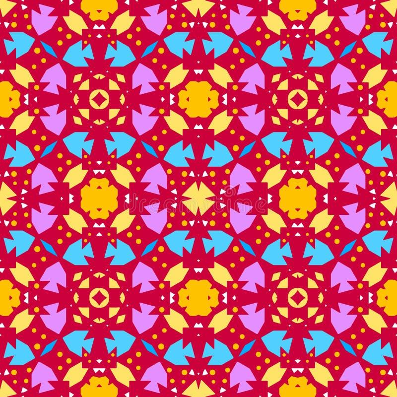 Nahtloser roter Hintergrund des bunten Kaleidoskops lizenzfreie abbildung