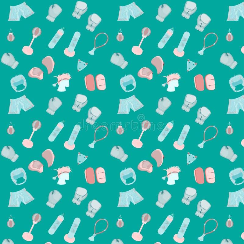 Nahtloser Satz des Musters muay thail?ndisches boxendes accessorie Pastellfarbentwurfsart Illustration eps10 lizenzfreie abbildung