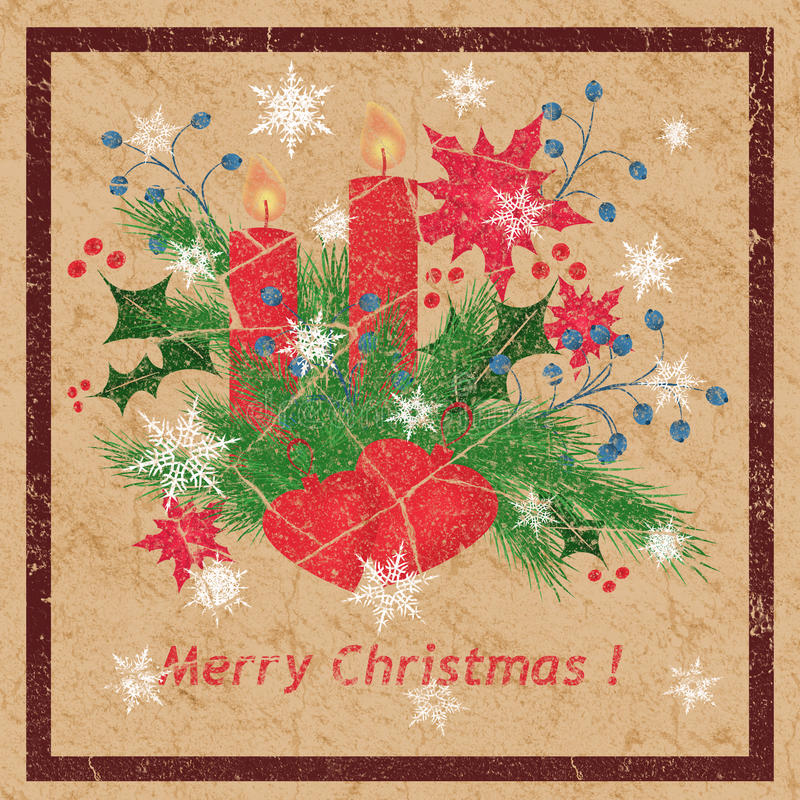 Nahtloser Schmutzhintergrund mit Weihnachtstannenbaum, Kerzen, Schneeflocken lizenzfreie abbildung