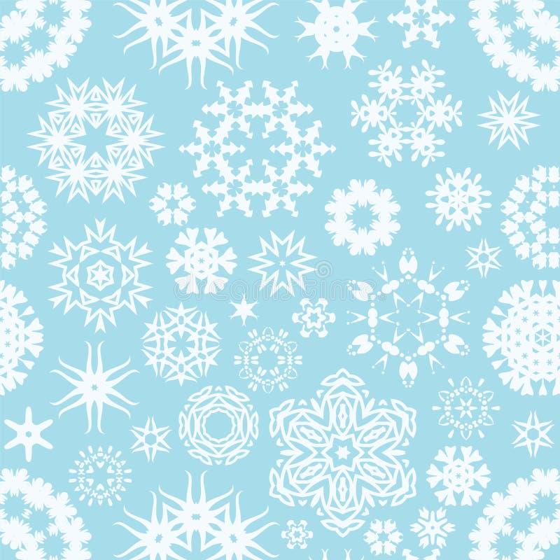 Nahtloser Schneeflockenhintergrund des Winters lizenzfreie abbildung