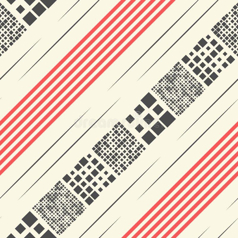 Nahtloser Schrägstreifen, Linie und Quadrat-Muster Vektorschwarzes stock abbildung