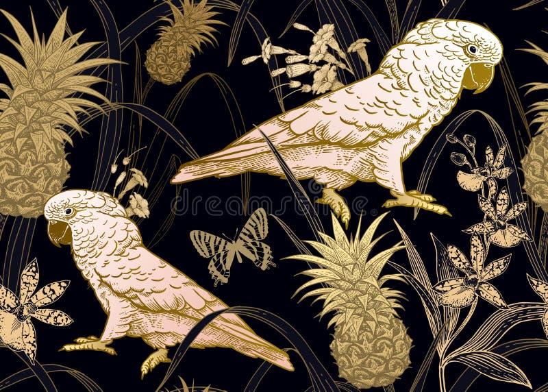 Nahtloser schwarzer Hintergrund mit Goldpapageien, -blumen, -schmetterling und -ananas vektor abbildung
