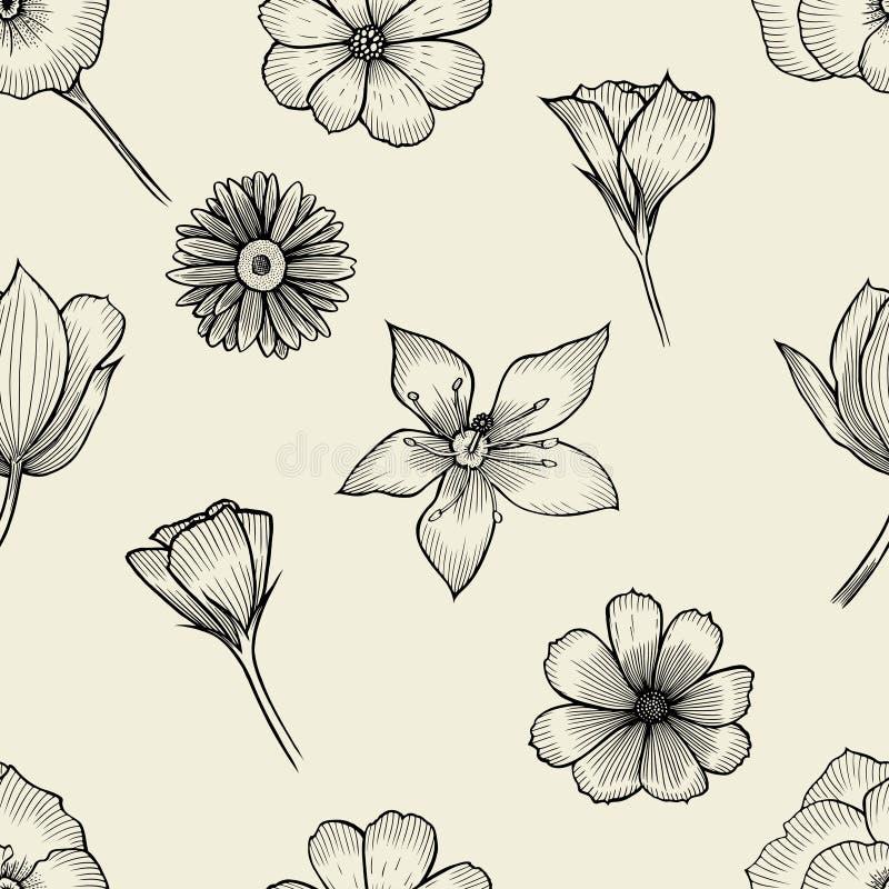 Nahtloser Schwarzweiss-Hintergrund stock abbildung