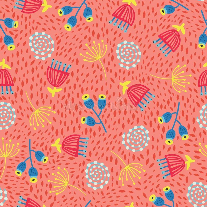 Nahtloser skandinavischer Blumenvektorhintergrund sechziger Jahre, siebziger Jahre Retro- Blumenmuster Rote, gelbe und blaue Wein lizenzfreie abbildung