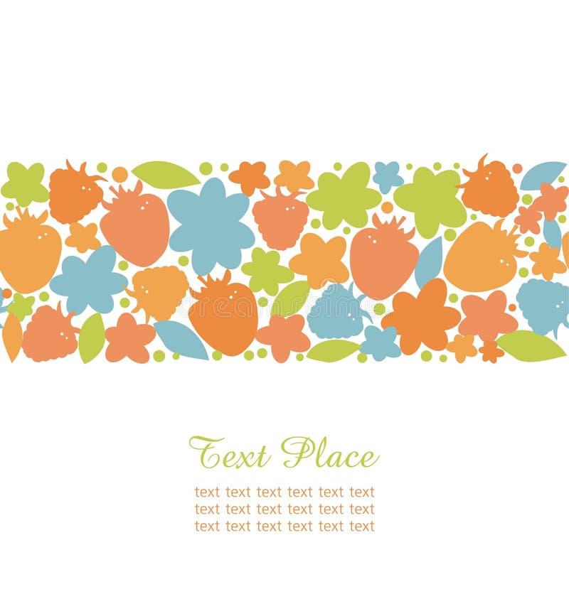Nahtloser Sommerstreifen mit aufwändigen Gestaltungselementen der Beeren, der Blumen und der Blätter für nette Karten, Fahnen, Gre stock abbildung