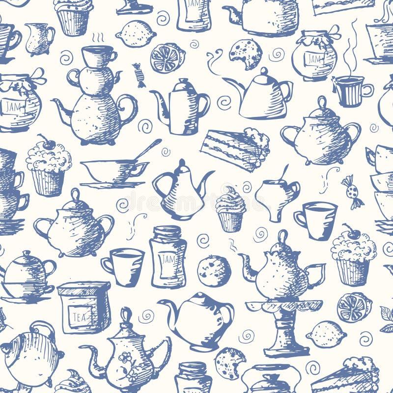 Nahtloser Teehintergrund stock abbildung