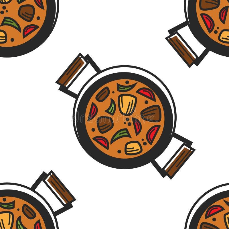 Nahtloser Teller guvech Muster des bulgarischen Tellers in der Wanne lizenzfreie abbildung