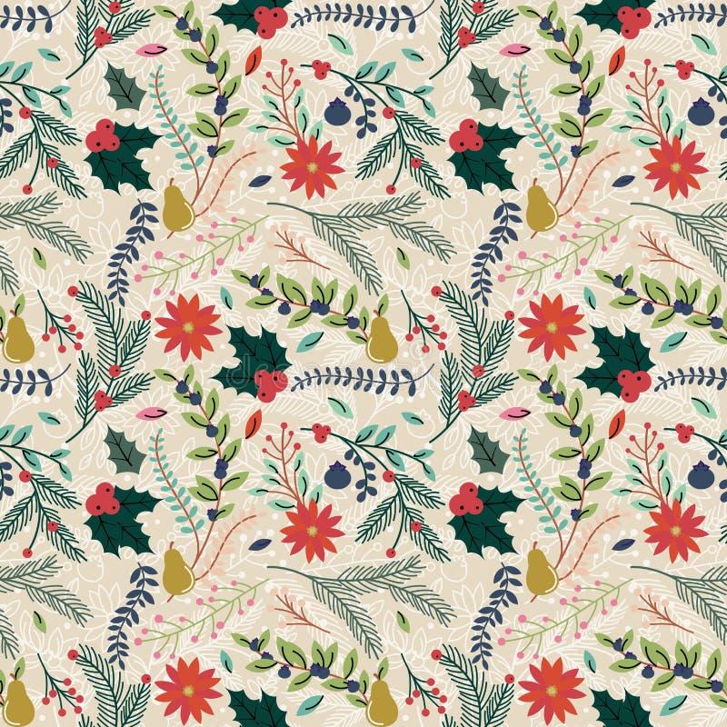 Nahtloser Tileable-Weihnachtsfeiertags-Blumenhintergrund-Muster stock abbildung