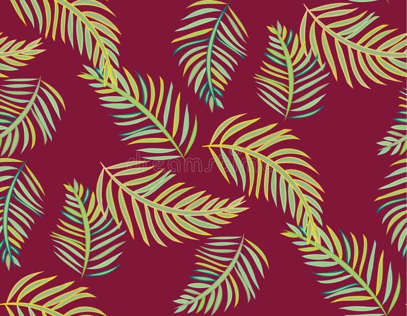 Nahtloser tropischer Dschungelpalmblattvektor-Musterhintergrund vektor abbildung
