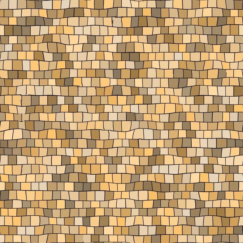 Nahtloser unregelmäßiger beige Mosaikbeschaffenheitshintergrund - quadratische Stücke lizenzfreie abbildung