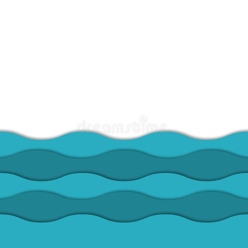 Nahtloser Vektor überlagerter Hintergrund des Meer 3d Bunte Schichten 3d mit realistischem weichem Schatten vektor abbildung