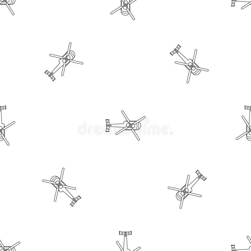Nahtloser Vektor des Draufsichthubschraubermusters stock abbildung