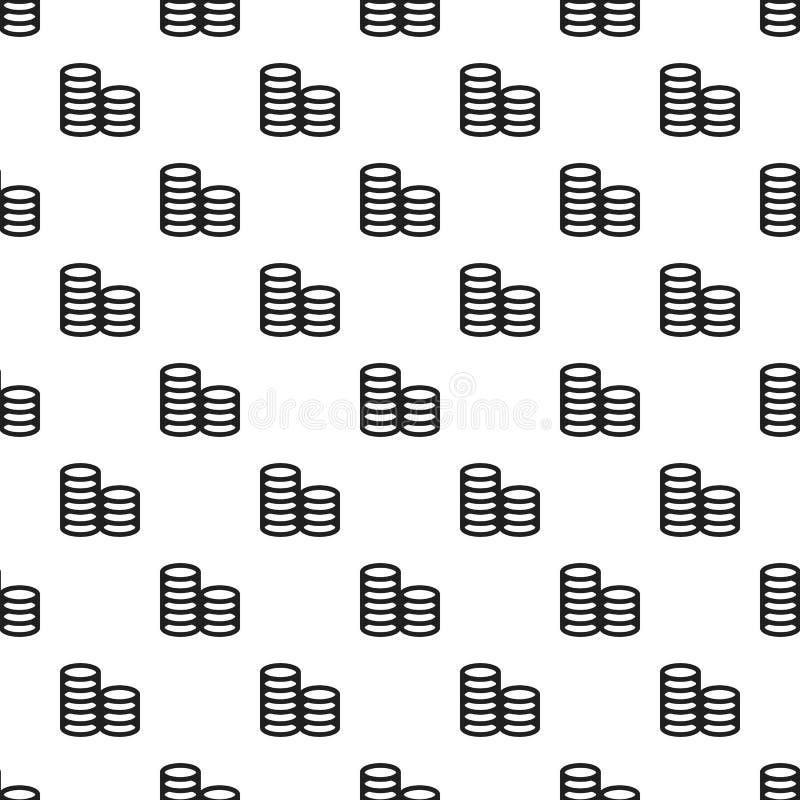 Nahtloser Vektor des Münzenstapel-Musters stock abbildung