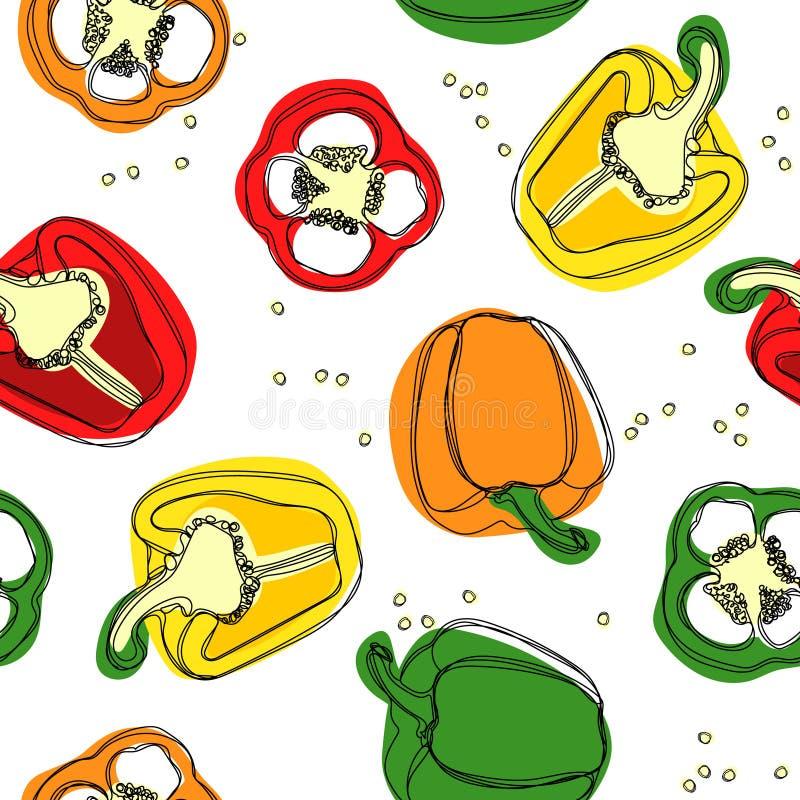 Nahtloser Vektor des Rotes, des Gelbs und der grünen Paprikas Übergeben Sie Zeichnung von bulgarischen Gemüsepaprikas, Paprika, P lizenzfreie abbildung