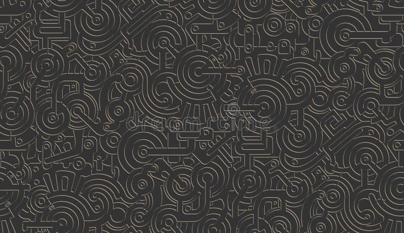 Nahtloser Vektor-mechanische Muster-Beschaffenheit Getrennt Steampunk metallisch Gold auf schwarzem Hintergrund vektor abbildung