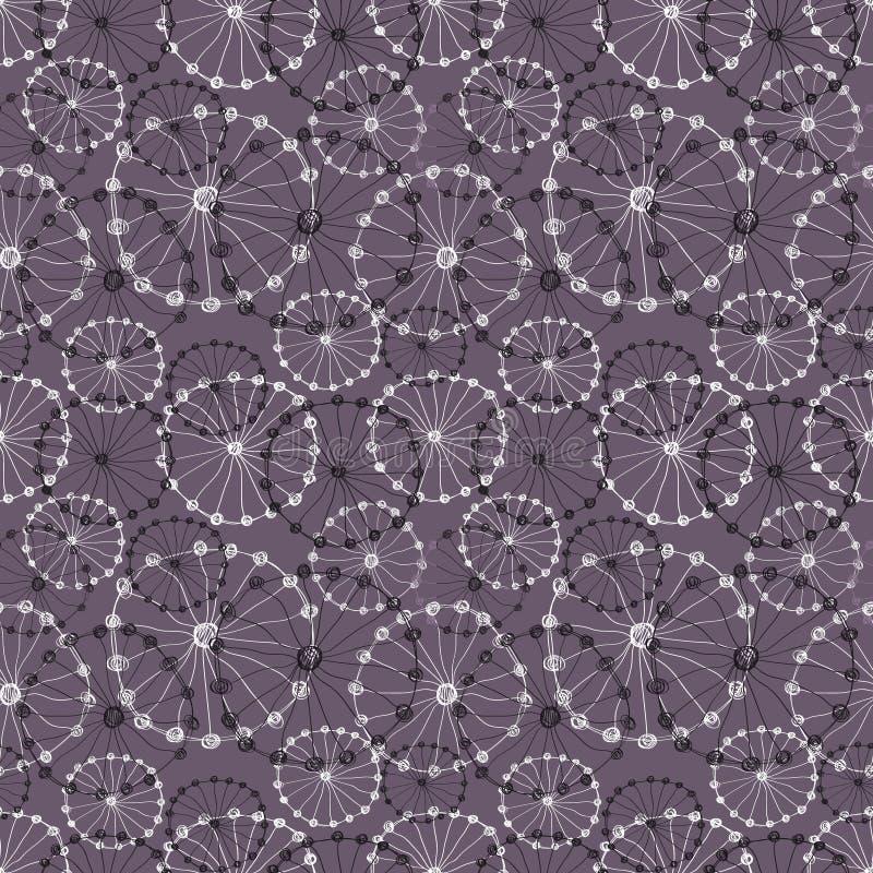 Nahtloser vektorblumenmuster Dunkelgraue Hand gezeichneter Hintergrund mit abstrakten Blumen lizenzfreie abbildung