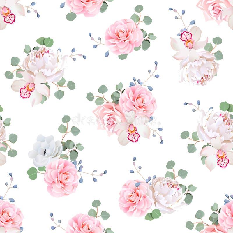 Nahtloser Vektordruck der kleinen Hochzeitsblumensträuße auf weißem Hintergrund lizenzfreie abbildung
