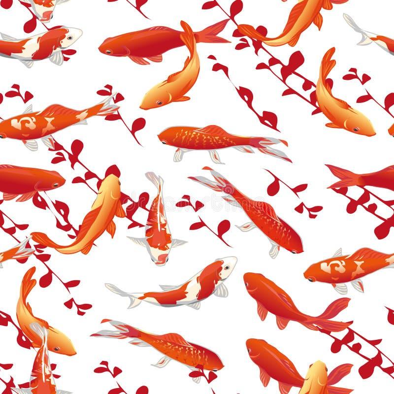 Nahtloser Vektordruck der roten Karpfen lizenzfreie abbildung