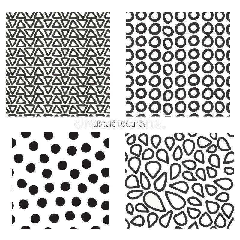 Nahtloser Vektorgekritzel-Beschaffenheitssatz von 4 Wiederholen von Hintergründen von Schwarzweiss-Dreiecken, Punkte, Mosaikform vektor abbildung