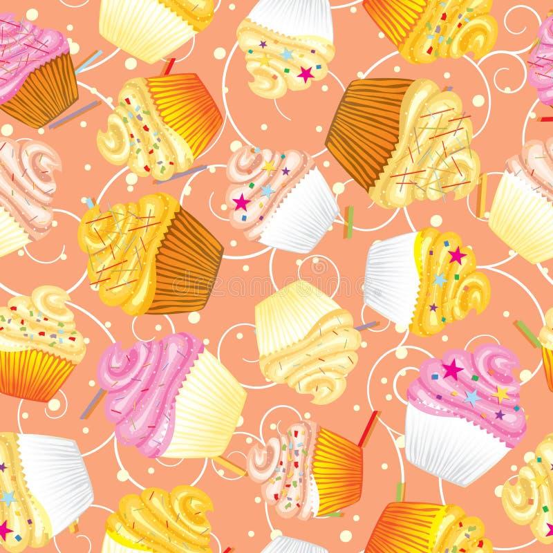 Nahtloser Vektorhintergrund der kleinen Kuchen mit Sahne lizenzfreie abbildung
