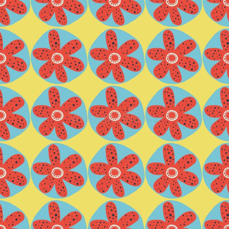Nahtloser Vektorhintergrund der Retro- Blumen sechziger Jahre, siebziger Jahre Blumenmuster Rote und blaue Gekritzelblumen auf ei stock abbildung