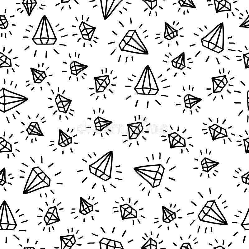 Nahtloser Vektorhintergrund des Karikaturdiamanten vektor abbildung