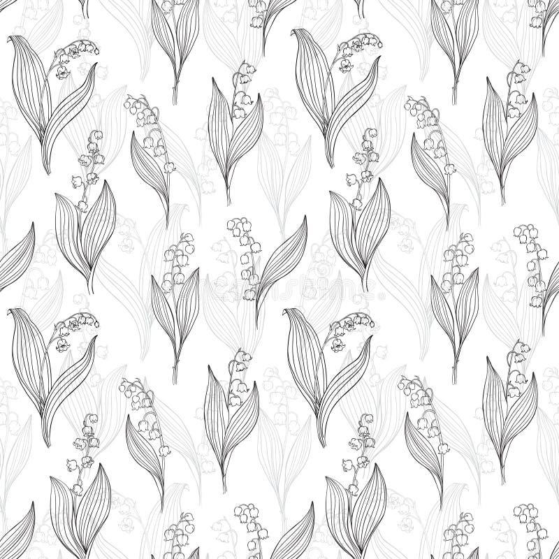 Nahtloser Vektorhintergrund mit Maiglöckchen Schwarzweiss-Blumenillustration vektor abbildung