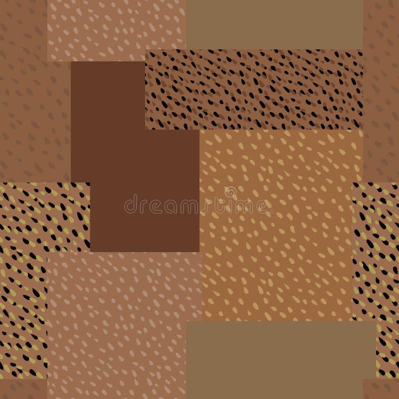 Nahtloser vektorhintergrund Quadrate und gesprenkelte Rechtecke stock abbildung