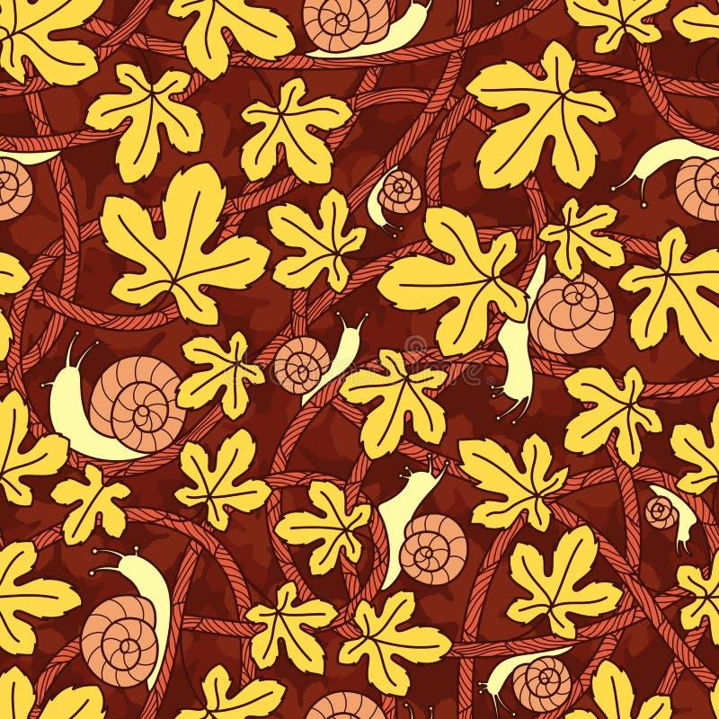 Nahtloser Vektorhintergrund von verdrehten Niederlassungen, von Schnecken und von Blättern Dekoratives Muster stock abbildung