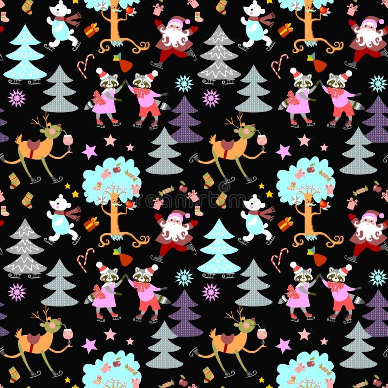 Nahtloser Weihnachtsdruck für Gewebe mit Rotwild Rudolph, Santa Claus, Eisbär und nette Waschbären stock abbildung