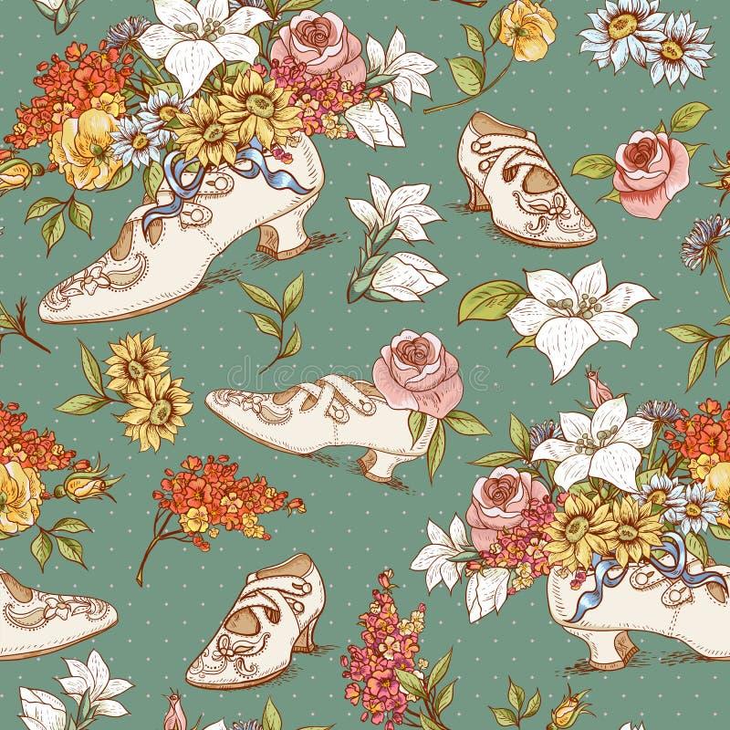 Nahtloser Weinlese-Blumen-und Schuh-Hintergrund vektor abbildung