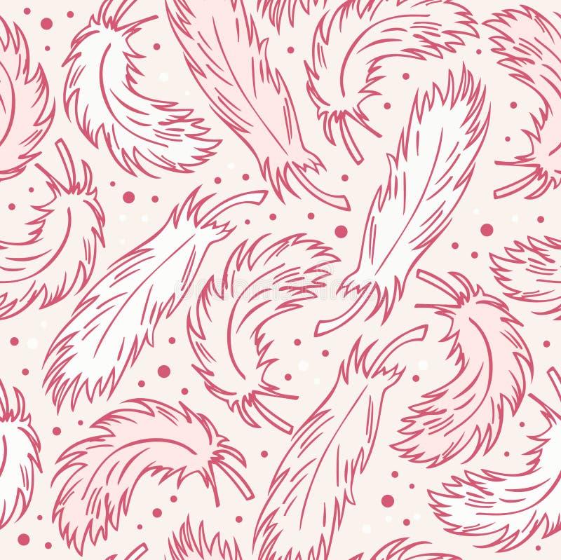 nahtloser Weinlesehintergrund mit Federn Dekoratives abstraktes Muster mit Hand gezeichneten Federn vektor abbildung