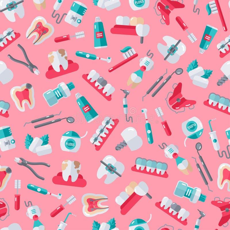 Nahtloser Zahnarzt Pattern auf rosa Hintergrund lizenzfreie abbildung