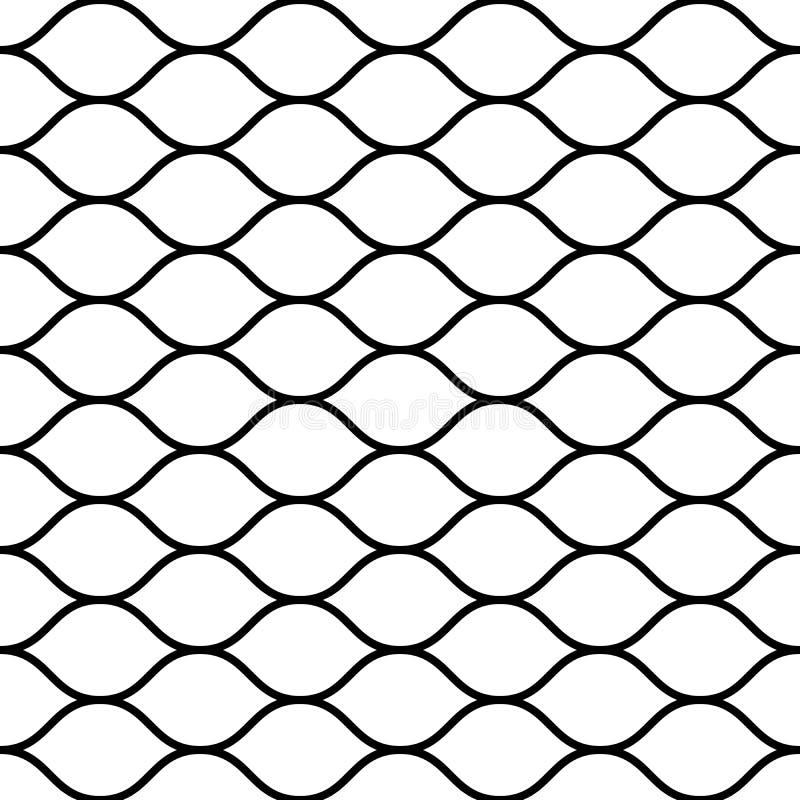 Nahtloser Zaun der verdrahteten Filetarbeit Einfache schwarze Vektorillustration auf weißem Hintergrund stock abbildung