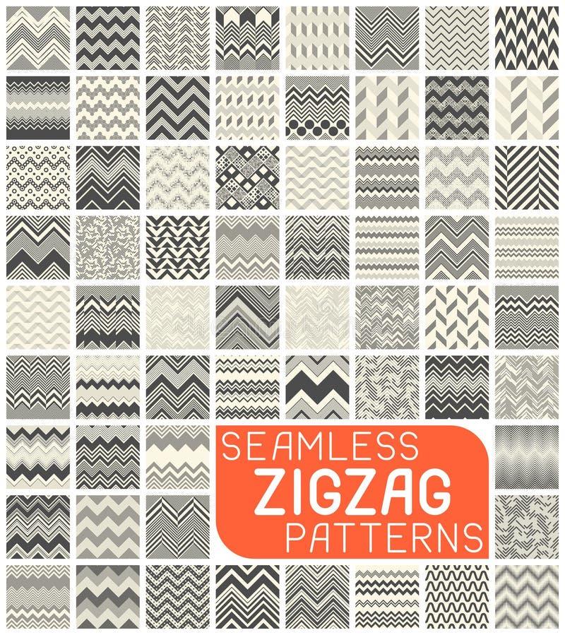 Nahtloser Zickzack-Muster-Satz Abstrakter Vektor-Chevron-Hintergrund lizenzfreie abbildung