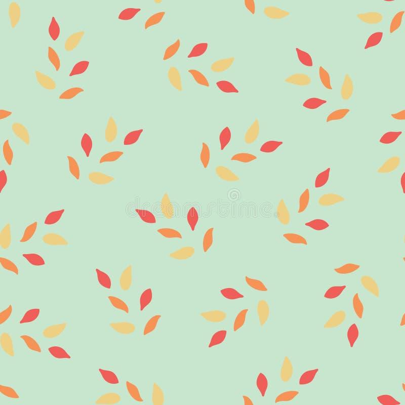 Nahtloses abstraktes Blumenblattvektormuster Korallenrote und gelbe Blätter auf hellgrünem Hintergrund Oberflächenmuster lizenzfreie abbildung