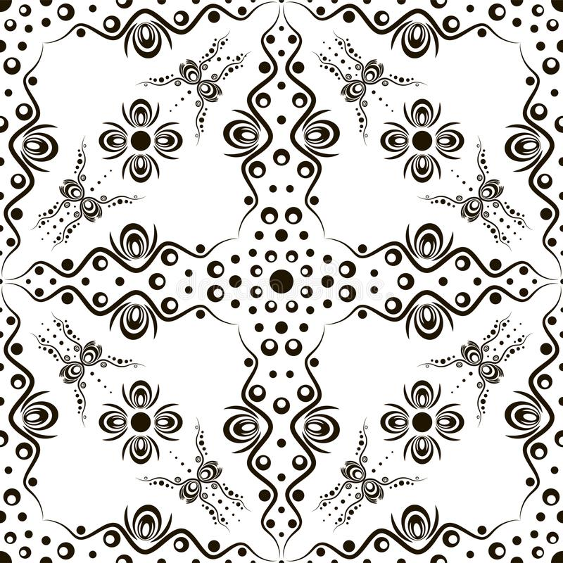 Nahtloses abstraktes Blumenmuster mit Strudeln stock abbildung