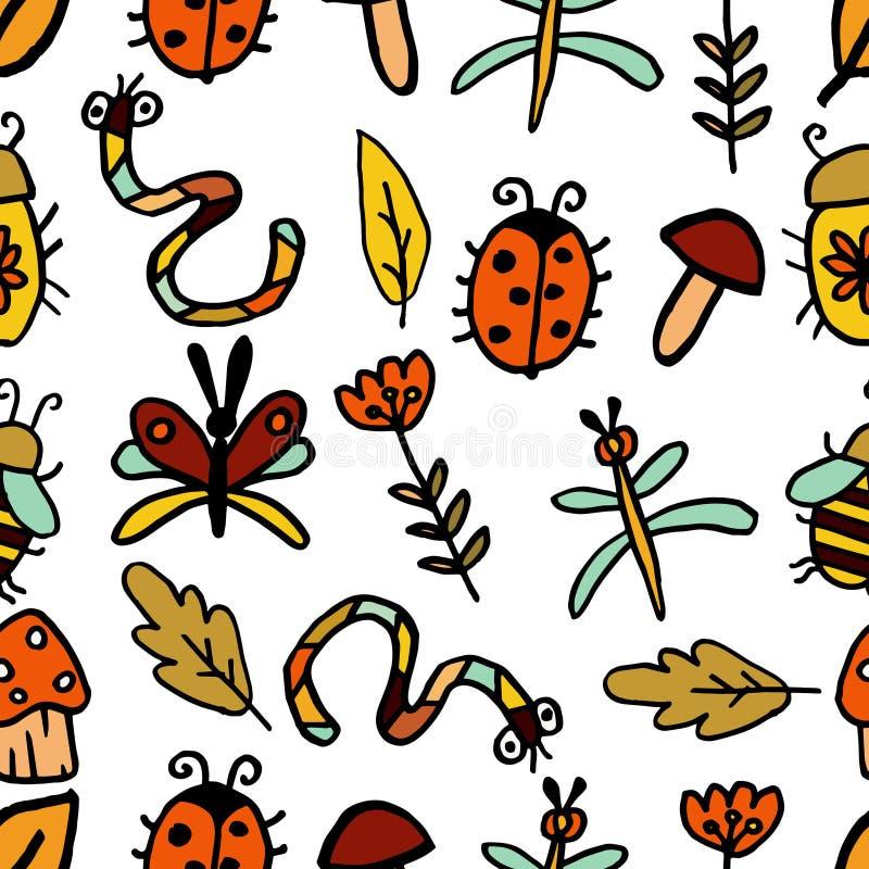 Nahtloses abstraktes dekoratives Herbstmuster Pilze, Insekten, Blume und Herbstlaub Biene, Libelle, Käfer, Schmetterling, Wurm stock abbildung