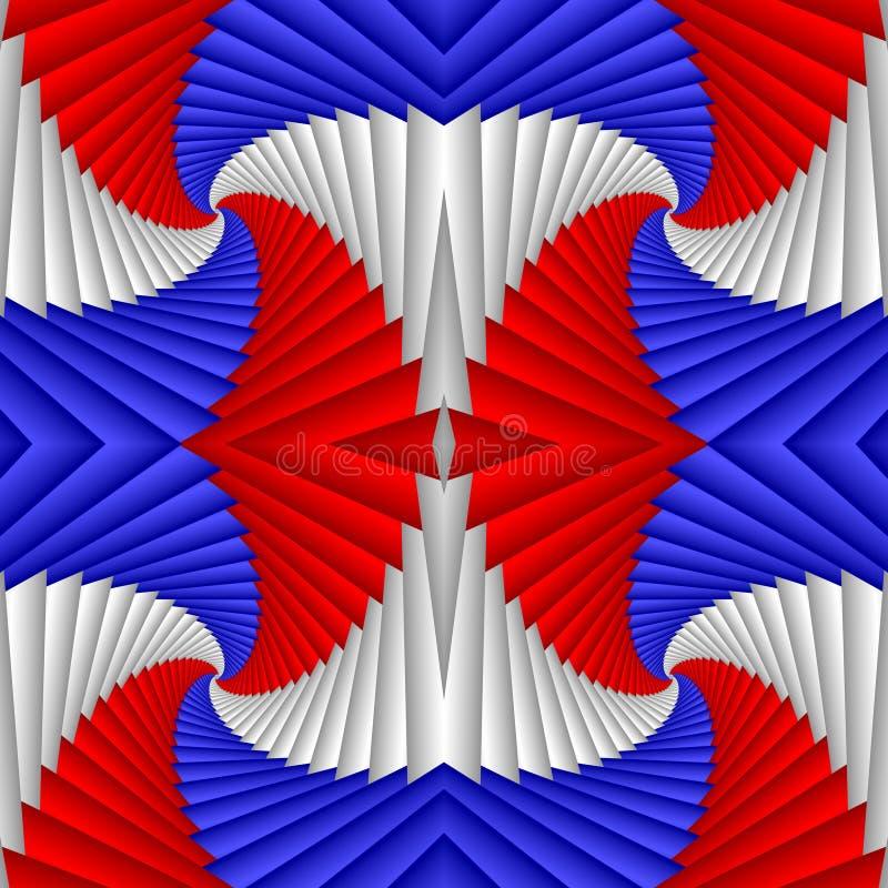 Nahtloses abstraktes festliches Muster, rot, blau, weiß Mit Ziegeln gedecktes Muster Geometrisches Mosaik lizenzfreie abbildung