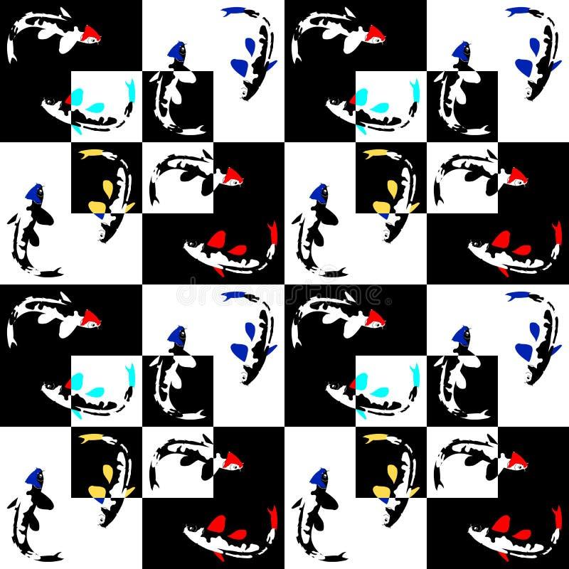 Nahtloses abstraktes geometrisches Muster auf einem Schachhintergrund mit Fischen stock abbildung