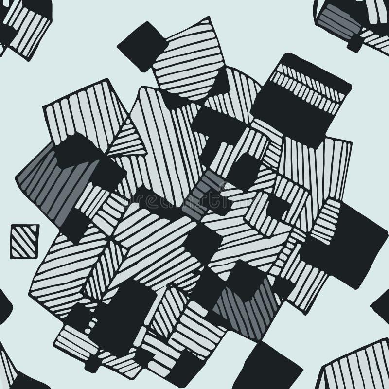 Nahtloses abstraktes geometrisches Muster in den hellblauen und dunkelgrauen Farben stockfotografie